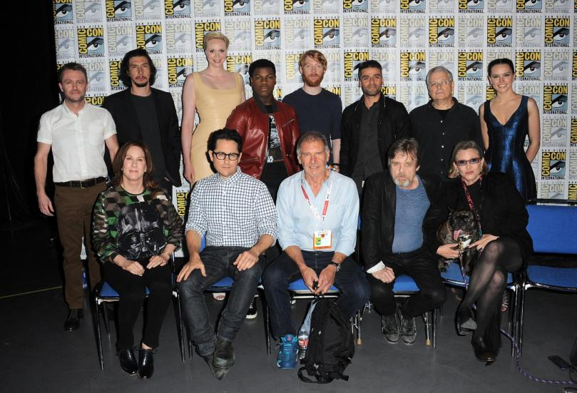 harrison-ford,-carrie-fisher,-mark-hamill,-lawrence-kasdan,-kathleen-kennedy,-j.j.-abrams,-chris-hardwick,-oscar-isaac,-domhnall-gleeson,-adam-driver,-gwendoline-christie,-john-boyega-and-daisy-ridley-at-event-of-star-wars--episode-vii-the-