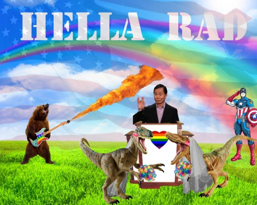 What better way to celebrate marriage equality across these United States with George Takei, lady velociraptors in love, a bear playing a Fury-Road-style gay flame guitar all while Captain American looks on in proud joy?